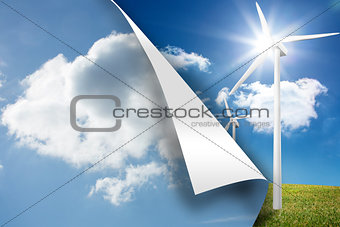 Sky background over turbine background