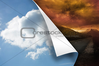 Sky background over stormy background