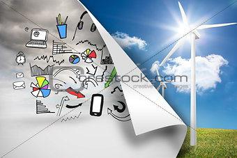 Sky background with graphics over turbine background