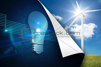 Blue light bulb background over turbine background