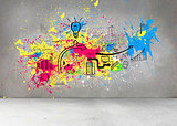 Colorful splashes on grey wall with graphics
