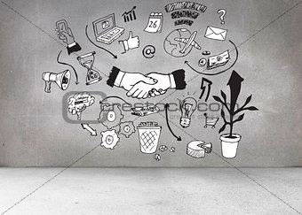 Grey wall with graphics
