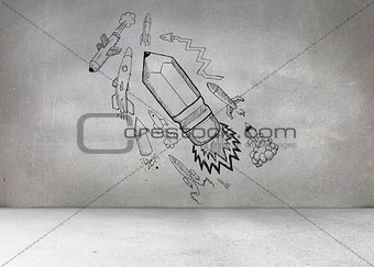 Grey wall with pencil rocket