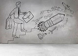 Grey wall with comic man and pencil rocket