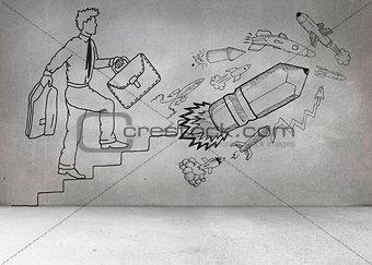 Grey wall with comic man and pencil rocket