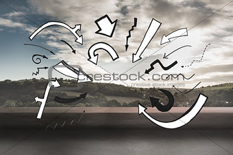 Black white arrows over landscape background