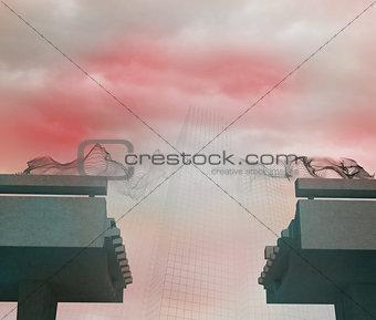 Grid over broken bridge in fog