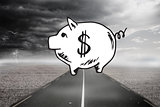 Piggy bank over street and stormy sky