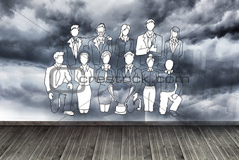 Black white figures on wall with stormy sky