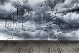 Comic man on wall with stormy sky