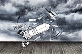 Graphic on wall with stormy sky