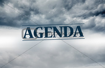 Agenda written on sky background