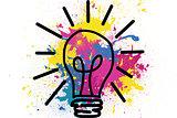 Drawn light bulb over splashes