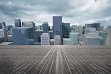 Cityscape under cloudy sky