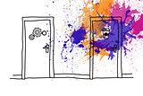 Two doors over splashes