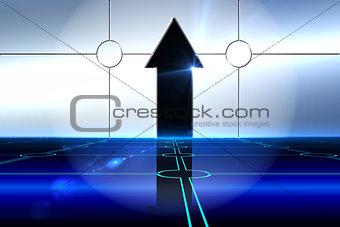 Arrow on technological background