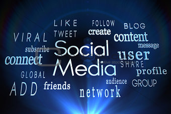 Social media words on black background