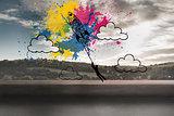 Rocket on splashes over landscape background