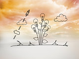 Light bulb flower graphic in bright sky