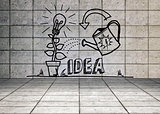 Growing idea graphic in grey room