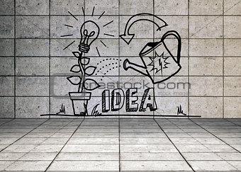 Growing idea graphic in grey room