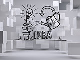Growing idea graphic in grey room with cubes