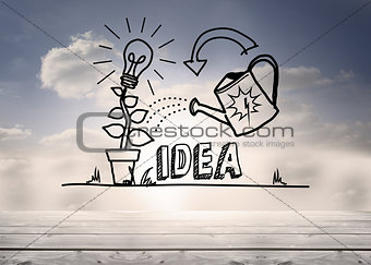 Growing idea graphic in sky