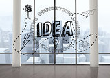 Idea graphic in room with big windows
