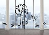 Light bulb tree in room with big windows