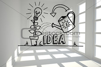 Growing idea graphic in bright room