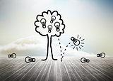Idea tree over floorboards in sky