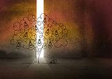 Light bulb tree in dark room
