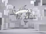 Working ants on grey background with cubes