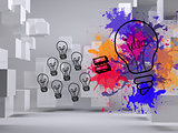 Light bulbs on splashes on background with cubes