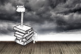 Two men climbing books over stormy sky