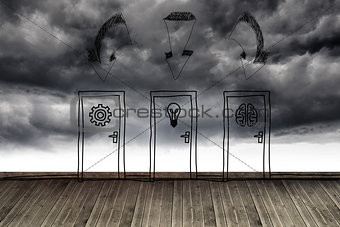 Three doors at wall with stormy sky
