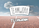 Teamwork written over running track