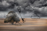 Light bulb balloon over cloudy landscape