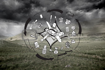 Business graphic on stormy background