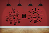 Light bulbs on red wall