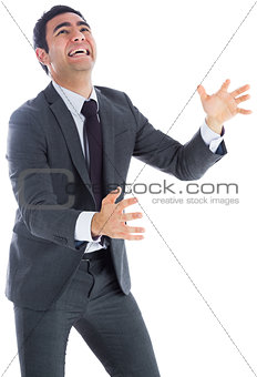 Stressed businessman catching