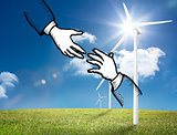 Two hands graphic on bright countryside with wind turbines