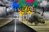 Colourful idea graphic on gloomy countryside