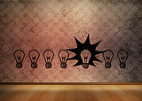 Light bulbs graphic on empty brown room