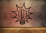 Light bulb graphic in empty brown room
