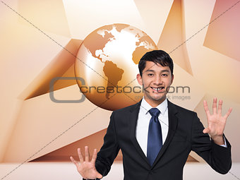 Smiling businessman touching