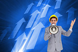 Composite image of architect shouting with a megaphone