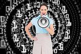 Composite image of classy businesswoman talking in megaphone