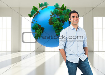 Composite image of casual man standing
