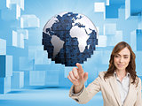 Composite image of businesswoman touching screen